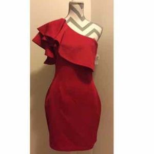 New~ Holiday party red ruffle dress size medium